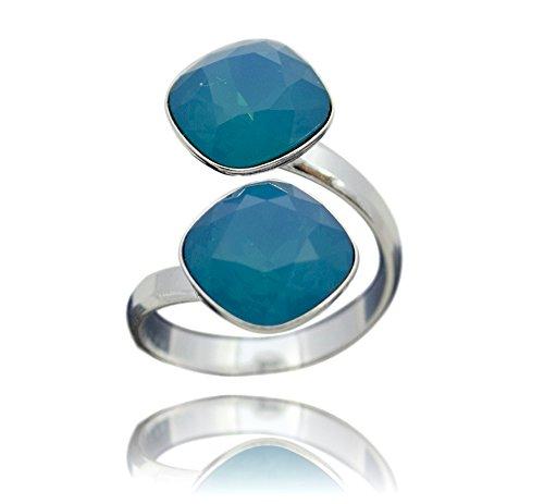 Crystals & Stones Swarovski *DOPPELT SQUARE* *VIELE FARBEN* 925 Silber Ring Swarovski Elements - 925 Sterling Silber Damen Ring Größe Verstellbar (Caribean Blue)
