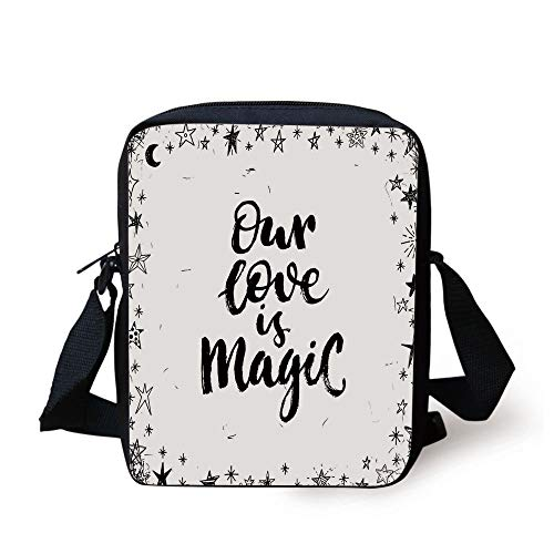 Magical,Our Love is Magic Quote Frame Print Surrounded by Star Figure Romance Graphic,Black White Print Kids Crossbody Messenger Bag Purse
