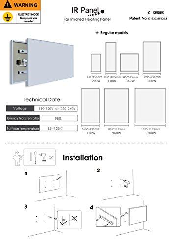 Infrarot-Heizung-Panel Raumheizung Elektrische Heizungen 180W-600W Blume 300W Bild 5*