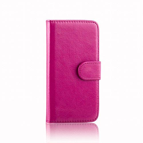 32nd PU Leder Mappen Hülle Flip Case Cover für Alcatel Pixi 4 (4.0), Ledertasche hüllen mit Magnetverschluss & Kartensteckplatz - Hot Pink