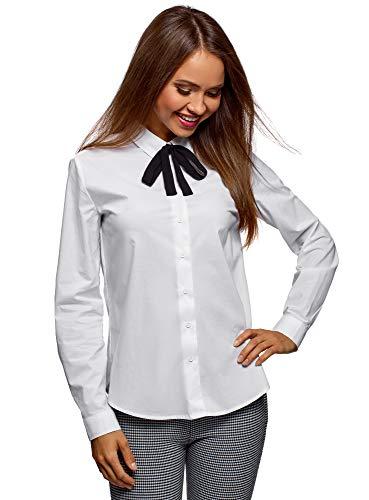 oodji Ultra Damen Baumwoll-Bluse mit Schleife am Kragen, Weiß, DE 36 / EU 38 / S