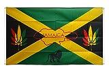 Digni Drapeau de balcon (avec 4 oeillets) Jamaique Reggae - 90 x 150 cm sticker gratuit...