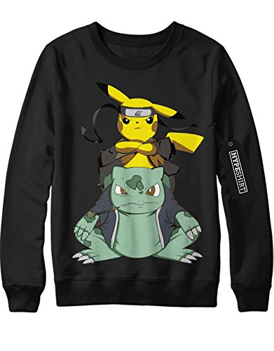Sweatshirt Pokemon Go Pikachu Naruto Gamabunta Crossover Sasuke Team Rocket Jessie James Mauzi Kanto 1996 Blue Version Pokeball Catch 'Em All Hype Nerd Game C210020 Schwarz M