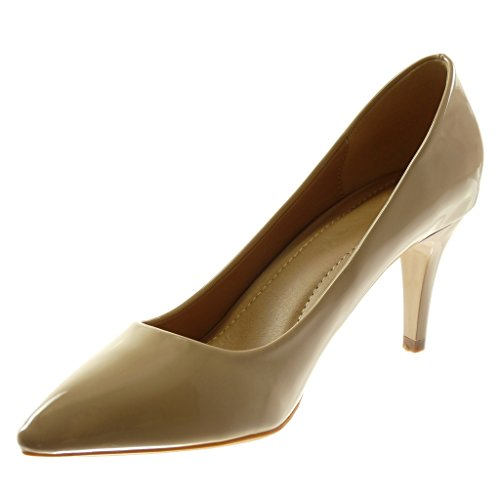 Angkorly Chaussures Fashion Decollete Avec Talon Stiletto Decollete Femme Peint Talon Stiletto Tall 7.5 Cm Beige