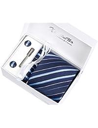 Coffret Cadeau Ensemble Cravate homme, Mouchoir de poche, épingle et boutons de manchette Rayures Bleues