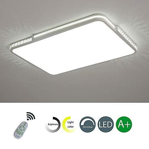 LED Stufenlos Dimmbare Deckenleuchte (3000K-6000K) Moderne Minimalistische Quadratische LED-Deckenleuchte Aus Acryl Geeignet für Esszimmer, Schlafzimmer, Wohnzimmer,Square,120W120*80*5cm