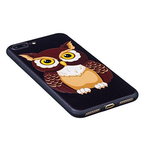 Cover iPhone 7 Plus, Custodia iPhone 7 Plus, Case in Silicone Nero Morbido TPU, Surakey Protettiva Bumper Back Cover Gomma Soft Sottile e Flessibile Custodia Gel Rubber Leggero Antiscivolo Antiurto Pr Grande Gufo