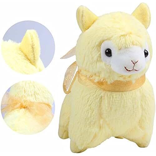 munecos dia madre kawaii KOSBON 7.31Set de 3pcs Juguete cojín de peluche suave de peluche de alpaca muñeca, mejores regalos de cumpleaños para los niños Niños más de 3a 3pcs (color blanco, amarillo, rosa)