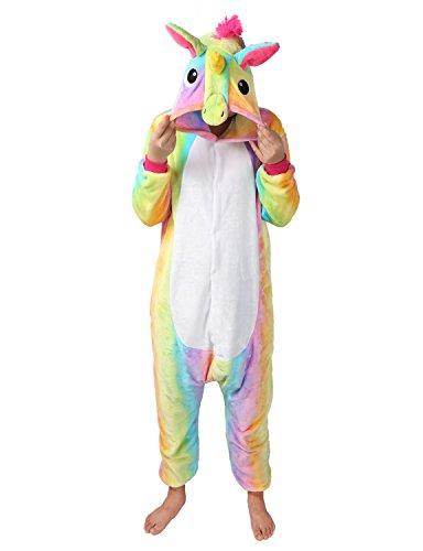 Pigiama o Costume di Carnevale Halloween Pigiama Cosplay Party Onepiece Intero Animali Unicorno Regalo di Compleanno Per Adulti Adolescenziale Ragazzi (S(145-155cm), multicolore)