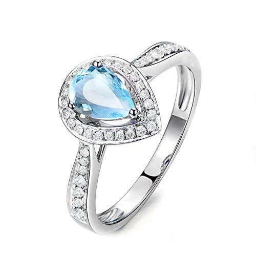SonMo 925 Sterling Silber Ring Verlobungsring Hochzeit Ring Eheringe Weiß Gold Wassertröpfchen Solitär Ring Silber Hellblau Topas Tropfenschliff Ringe Frauen Zirkonia 60 (19.1)