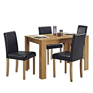 Dining table and 4 chairs with faux leather oak furniture for Leather kitchen table chairs