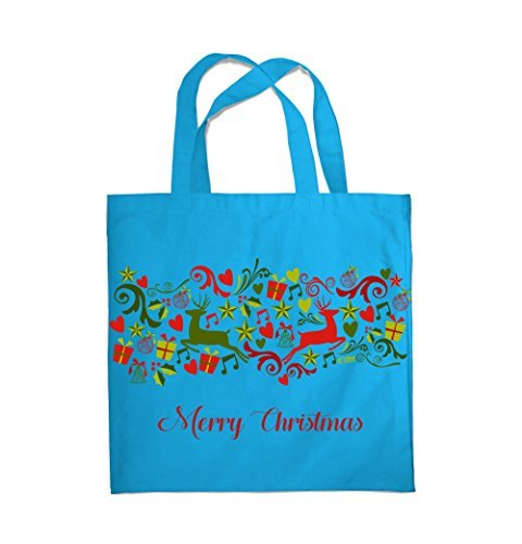 COLOUR FASHION Merry Christmas Jingle Bells Spesa Spiaggia Palestra Borsa di stoffa 0081 Blu Medio