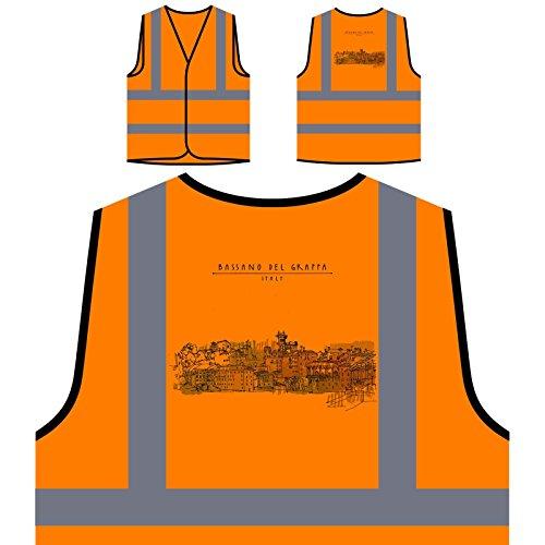 Preisvergleich Produktbild Bassano Del Grappa, Italien Lustige Neuheit Personalisierte High Visibility Orange Sicherheitsjacke Weste a664vo