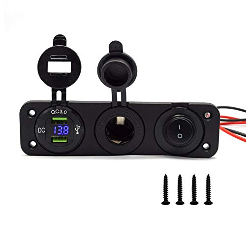 QC3.0 USB Ladegerät Power, 12V / 24V Dual USB Ladegerät Power Adapter Outlet Panels Schalter, Zigarettenanzünder Power Adapter mit LED-Anzeige für Auto Boot Marine