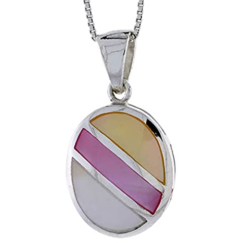 Revoni Sterling Silver Striped Oval Shell Pendant, w/ Yellow, Pink & Blue Mother of Pearl inlay, 1 1/16