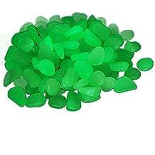 TININNA 100 piedras decorativas luminosas que brillan en la oscuridad ,Guijarro Piedras Fluorescentes Luminoso Colores para Acuario pecera Jardin-Verde