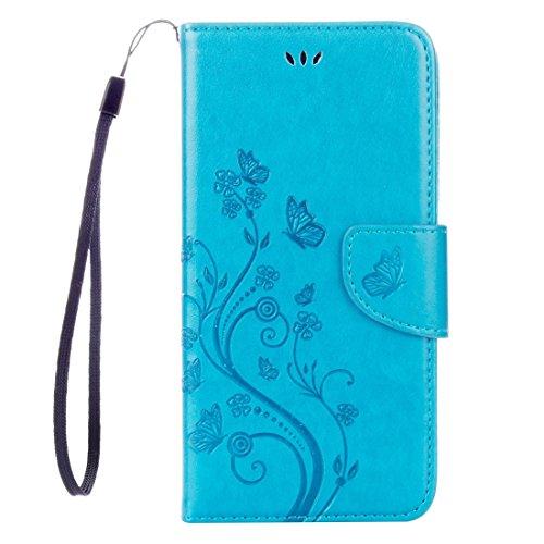 iPhone Case Cover Pour iPhone 7 Plus Fleurs Embossing Horizontal Flip étui en cuir avec porte-cartes & Slots & Portefeuille & Lanyard ( Color : Magenta ) Blue