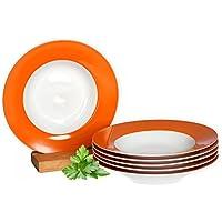 Van Well 6er Set Suppenteller Serie Vario Porzellan - Farbe wählbar, Farbe:orange