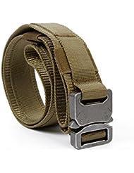 yisibo Tactical Heavy Duty Cinturón con Sistema Molle Nylon cinturones hebilla metálica 1,5pulgadas negro marrón de estilo militar Marrón (Coyote Brown) Talla:mediano