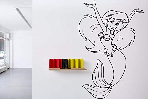 Wanghan Little Mermaid Vinyl Wandaufkleber Cartoon Design Wandtattoo Kinderzimmer Kinderzimmer Dekor Meerjungfrau Tapete Badezimmer Abziehbild 42X63 (Little Ornament Mermaid)