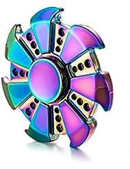 HONGCA Spinner Fidget EDC ADHD Focus Toy,Ultra Durable High Speed 3-6 Minute Spins Precision Zinc alloy Material (Rainbow - Hot Wheels)