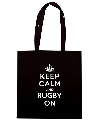 T-Shirtshock - Borsa Shopping TRUG0115 keep calm and rugby on logo Nero