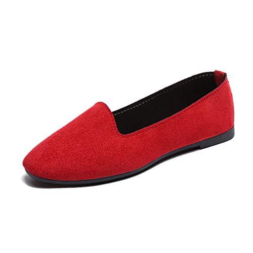 GODGETS Damen Flats Lackleder Geschlossene Ballerinas Klassische Lederschuhe Loafers Slip-Ons,Rot,35 EU