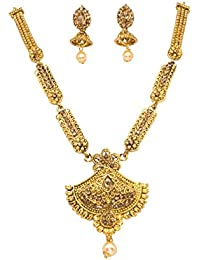 DeAaaStyle Antique Gold Plated Copper Rani Haar Necklace Set With Earrings For Women And Girls For Traditional...