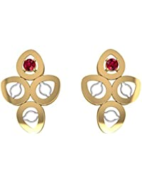 Dishis Designer Jewellery 18KT Two Colour Gold and Ruby Stud Earrings for Women