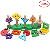 ANIKI TOYS Baby Wooden Shape Color Sorter Toys Early Development & Activity Educational Toy- Sorting & Stacking Toys with Jigsaw Puzzle Board (Elephant)