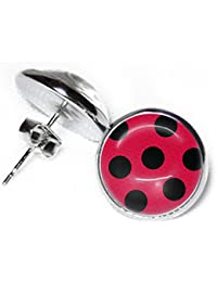 Ladybird Stud Earrings - 12 mm - Cute Polka Dots - Ladybird Costume - Ladybird Birthday - Red - SCS214
