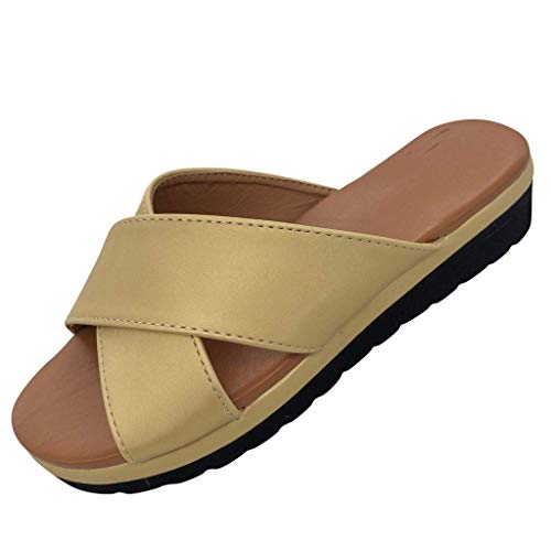 BASACA Sandalen Damen Frauen Wohnungen Keile Offene Zehe Ankle Sommer Schuhe Frau Römische Mode 2019 (39 EU, Gold-A)