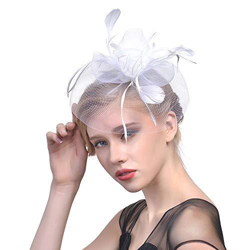 Fasching Kostüm Accessoires Damen Feder Fascinators Hut Blumen Netz Braut Kopfschmuck Haar Clip Hut Elegant Fascinator Haarreif für Hochzeit Cocktail Tee(Weiß)