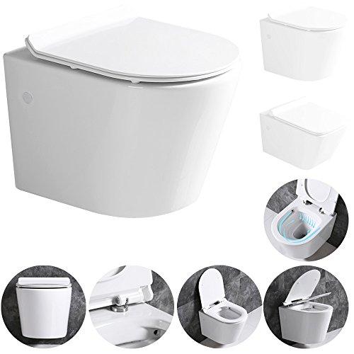 Sanlingo Keramik Wand Hänge WC Toilette Spülrandlos Softclose Weiß Tiefspüler Lotuseffekt , Form:Rund (02)