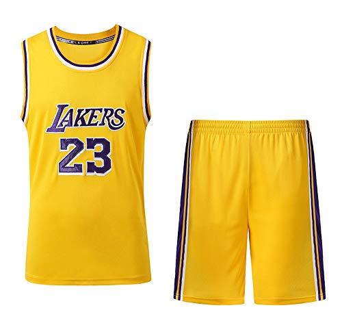 Verwendet für Nr. 23 Lebron James Fans Los Angeles Lakers Jungen Mädchen Basketball Jersey Sets Basketball Uniformen Kinder Sommer Weste Shirts Shorts Set-Yellow-XS
