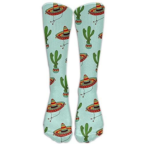 Knöchel-socke Stricken Muster (Passen Sie Mode hohe lange Socken mexikanischen Sombrero Hut Kaktus Muster Neuheit Premium Kalb Fashional Tube Strümpfe)