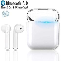 i8X TWS Auricolari Bluetooth Senza Fili, DUOKER True Wireless TWS Cuffie Bluetooth 5.0 con Mini Custodia di Ricarica Portatile, In Ear, Stereo, Microfono per Audiolibri Video - Bianco