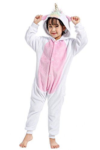 Pyjama Nachtwäsche Cosplay Kostüm Unicorn Schlafanzüge Für Jungen Mädchen (138-148cm, Golden Horn) ()