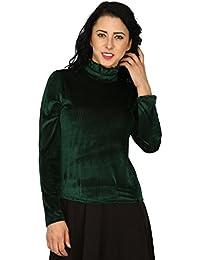 SVT ADA COLLECTIONS CODRAY Green HIGH Neck Elegant TOP (023105_Green_Medium)
