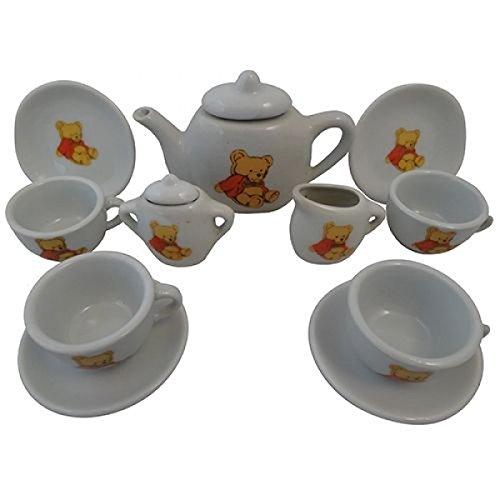 Puppen-Teeservice   Kinder-Kaffeeservice aus Porzellan PW 2175   Teddy-Bären-Design   mit Tablett,...