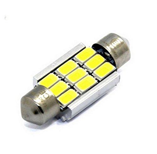 1x E9-PRÜFZEICHEN TÜV FREI CE CANBUS LED LAMPE SOFFITTE 42MM 9-SMD Chip 3W KALTWEIß C10W Sockel Innen- Kennzeichen- Einstiegs- Kofferraum- Fussraumbeleuchtung (Licht Tahoe 9)