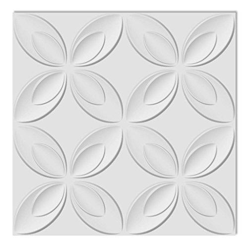 Festnight 6 m² 3D Wandpaneele Wandverkleidung Wand Paneel Deckenpaneel aus Bambusfaser 0,3x0,3 Muster Blumen -