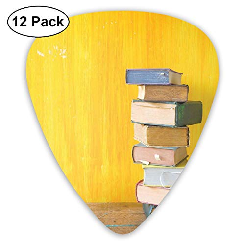 Celluloid Guitar Picks - 12 Pack,Abstract Art Colorful Designs,Cute Minimal Photo With Stack Of Old Novels Front Of A Yellow Toned Grungy Wall,For Bass Electric & Acoustic Guitars.