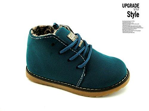 Gaorui Enfant Filles Garcons Chaussures D Hiver Polaire Chaussures En Daim a Lacets Oxford Style Martin Boot Bleu fonce