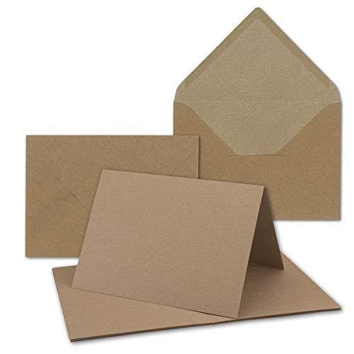 """50x sehr schweres Vintage Kraftpapier Falt-Karten SET mit Umschlägen DIN B6-120 x 169 mm - 350 g/m² - Klapp-Karten I UmWelt by GUSTAV NEUSER®"""""""