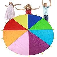 TMISHION Paracaídas, Rainbow Parachute los niños Juegos Kindergarten Juguete de educación temprana para Fiestas Deportes Actividades Grupo Ejercicio al Aire Libre,3m 3.6m 6m (6m)