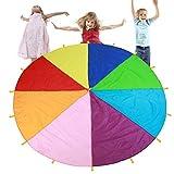 TMISHION Paracaídas, Rainbow Parachute los niños Juegos Kindergarten Juguete de educación temprana para Fiestas Deportes Actividades Grupo Ejercicio al Aire Libre,3m 3.6m 6m (3m)