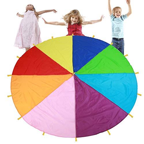 Fallschirm Schwungtuch, Kinder Fallschirm Koordination Motorik trainieren Bunt Fallschirm Runde Spielzeug Kindergarten Früherziehung für Partys Sportliche Aktivitäten Gruppe Outdoor Übung (3m)