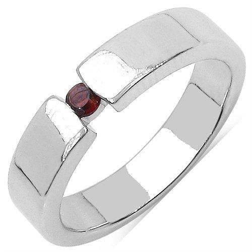 Johareez 0.08CTW Genuine Garnet Solitaire .925 Sterling Silver Ring
