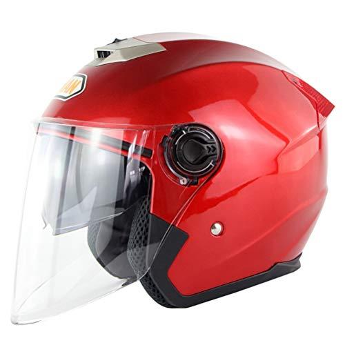 OD-B Casco Moto Integrale Motocicletta Scooter Caschi Motorino Doppia Visiera Casco Antiurto DOT per Uomini E Donne Adulti,Red,M